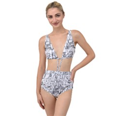 Black And White Background Wallpaper Pattern Tied Up Two Piece Swimsuit