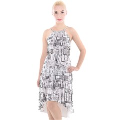 Black And White Background Wallpaper Pattern High Low Halter Chiffon Dress