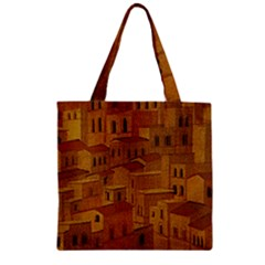Roof Building Canvas Roofscape Zipper Grocery Tote Bag