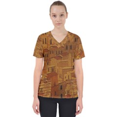 Roof Building Canvas Roofscape Women s V Neck Scrub Top
