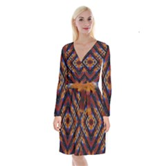 Kaleidoscope Art Pattern Ornament Long Sleeve Velvet Front Wrap Dress