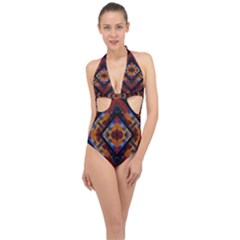 Kaleidoscope Art Pattern Ornament Halter Front Plunge Swimsuit