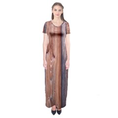 Wood Boards Wooden Wall Wall Boards Short Sleeve Maxi Dress
