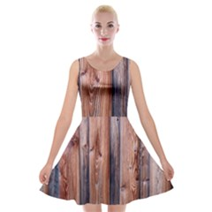 Wood Boards Wooden Wall Wall Boards Velvet Skater Dress
