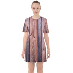 Wood Boards Wooden Wall Wall Boards Sixties Short Sleeve Mini Dress