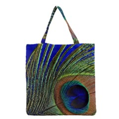 Peacock Feather Macro Peacock Bird Grocery Tote Bag