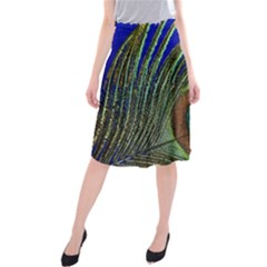 Peacock Feather Macro Peacock Bird Midi Beach Skirt