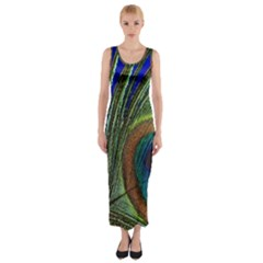 Peacock Feather Macro Peacock Bird Fitted Maxi Dress