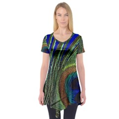 Peacock Feather Macro Peacock Bird Short Sleeve Tunic