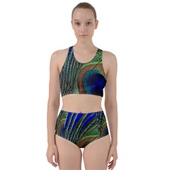 Peacock Feather Macro Peacock Bird Racer Back Bikini Set