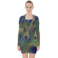 Peacock Feather Macro Peacock Bird V Neck Bodycon Long Sleeve Dress