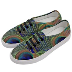 Peacock Feather Macro Peacock Bird Women s Classic Low Top Sneakers by Simbadda