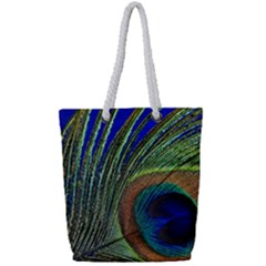Peacock Feather Macro Peacock Bird Full Print Rope Handle Tote (small)