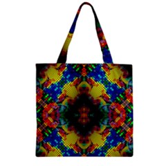 Kaleidoscope Art Pattern Ornament Zipper Grocery Tote Bag