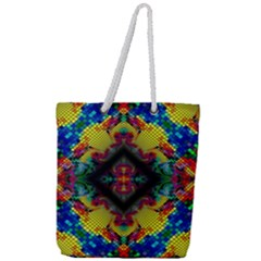 Kaleidoscope Art Pattern Ornament Full Print Rope Handle Tote (large)