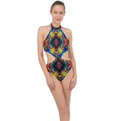 Kaleidoscope Art Pattern Ornament Halter Side Cut Swimsuit