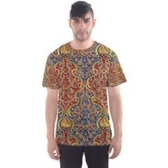 Wall Texture Pattern Carved Wood Men s Sports Mesh Tee