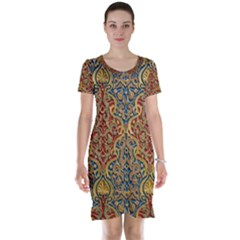 Wall Texture Pattern Carved Wood Short Sleeve Nightdress