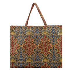 Wall Texture Pattern Carved Wood Zipper Large Tote Bag