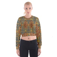 Wall Texture Pattern Carved Wood Cropped Sweatshirt
