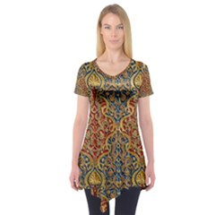 Wall Texture Pattern Carved Wood Short Sleeve Tunic