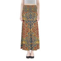Wall Texture Pattern Carved Wood Full Length Maxi Skirt