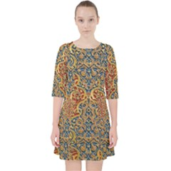 Wall Texture Pattern Carved Wood Pocket Dress