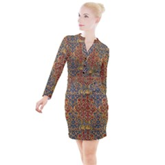 Wall Texture Pattern Carved Wood Button Long Sleeve Dress