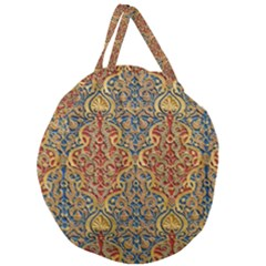 Wall Texture Pattern Carved Wood Giant Round Zipper Tote