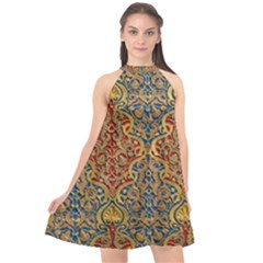 Wall Texture Pattern Carved Wood Halter Neckline Chiffon Dress