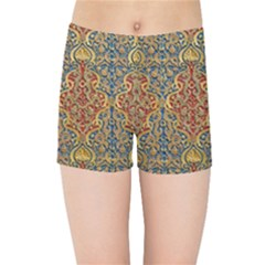 Wall Texture Pattern Carved Wood Kids Sports Shorts