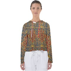 Wall Texture Pattern Carved Wood Women s Slouchy Sweat