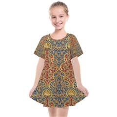 Wall Texture Pattern Carved Wood Kids  Smock Dress