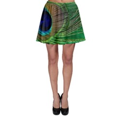 Peacock Feather Macro Peacock Bird Skater Skirt