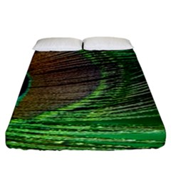 Peacock Feather Macro Peacock Bird Fitted Sheet (king Size)