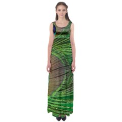 Peacock Feather Macro Peacock Bird Empire Waist Maxi Dress