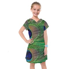 Peacock Feather Macro Peacock Bird Kids  Drop Waist Dress