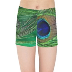 Peacock Feather Macro Peacock Bird Kids Sports Shorts