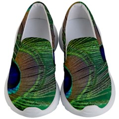 Peacock Feather Macro Peacock Bird Kid s Lightweight Slip Ons