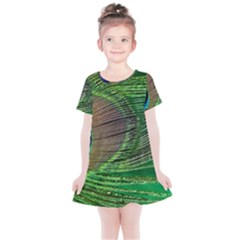 Peacock Feather Macro Peacock Bird Kids  Simple Cotton Dress by Simbadda