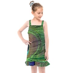 Peacock Feather Macro Peacock Bird Kids  Overall Dress