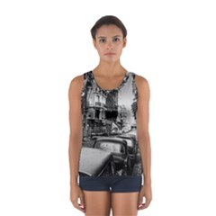 Vintage Paris Street Sport Tank Top  by bloomingvinedesign