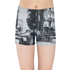 Vintage Paris Street Kids Sports Shorts by bloomingvinedesign