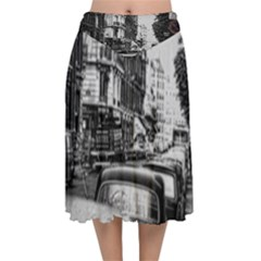 Vintage Paris Street Velvet Flared Midi Skirt