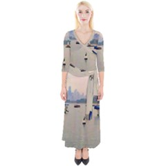 Lake View Of Chicago Quarter Sleeve Wrap Maxi Dress