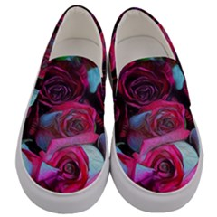 Red And White Roses Men s Canvas Slip Ons