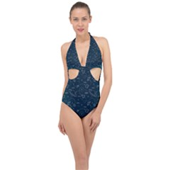 Retro Space Pattern Halter Front Plunge Swimsuit