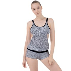B/w Abstract Pattern 1 Boyleg Tankini Set