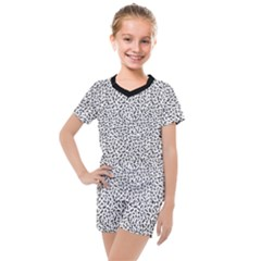 B/w Abstract Pattern 1 Kids  Mesh Tee And Shorts Set