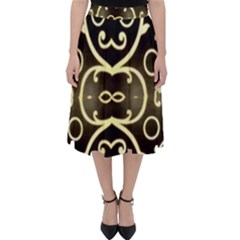 Black Embossed Swirls In Gold By Flipstylez Designs Classic Midi Skirt